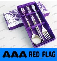 Wholesale Spoon fork and Chopstick set with Purple metal dinnerware Event Party Wedding door Gifts LLFA