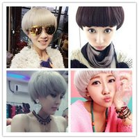 bang hair pictures - Grey white cosplay wigs hairpiece personality fashion colorful fluffy neat bang short hair girls head wig caps like sellers self pictures