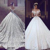 arabic robe - Saudi Arabic Dubai Luxury Wedding Dresses New Off Shoulder Appliques Backless with Sweep Train Bridal Gowns Robe de marriage