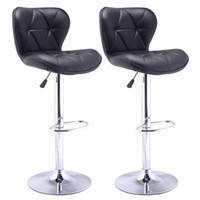 bar stools black leather - Set of Bar Stools Leather Modern Hydraulic Swivel Dinning Chair Barstool Black