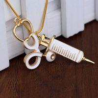 Wholesale Trendy Medical Stethoscope Syringe Pendant Necklace Snake Chain Needle Metal Alloy Pendant For Women Nurses Jewlry Gifts