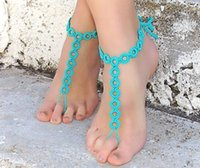 Wholesale Colorful Jewelry Beach Pool Wear Barefoot Sandals Stretch Anklet Chain With Toe Retaile Sandbeach Wedding Bridal Bridesmaid Foot Jewelry