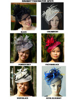 Wholesale NEW COLOR ARRIVAL Dress Wedding party Fashion sinamay fascinator hat with feathers and veiling colors