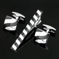 High Quality A Set Of Silver Cufflink Et clip Tie Hommes Bijoux Pour shirt de mariage robe de pinces à cravate Cufflinks Cadeau Z-028