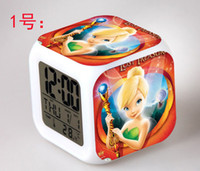 alarms gift items - Hot item Cute Tinker Bell Fairy Figure LED Alarm Electric Clock Kid infant Despertador Cartoon Character Girl Birthday Gift