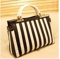 handbags in japan - The spring and summer of in South Korea and Japan the new simple hit color black and white striped Shoulder Handbag fashion handbag bag