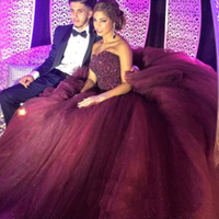 Wholesale Gorgeous Red Wine Quinceanera Dresses Long Sweetheart Ball Gown Tulle Sequined Beaded Long Prom Dresses Backless Court Train