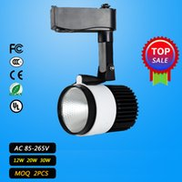 Wholesale LED COB Track Rail Light W W30W AC85 V Spotlight Adjustable Rail Track Lighting lamp for Mall Exhibition Office black white
