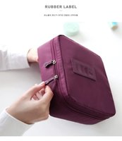 Wholesale 2016 Hot sales Lady makeup bags eight colors Travel casual purses Waterproof Cosmetic bag Double Zipper prints Oxford Cloth