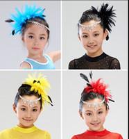 beautiful latin - Beautiful assorted colors Flower Feather Bead Corsage Hair Clips Fascinator Latin dance headdress flower