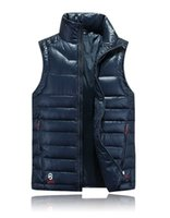 Wholesale Men s Winter Solid Down Vest White Duck Down Padded Waistcoat Men Branded Stand Collar Down Vest Men VT