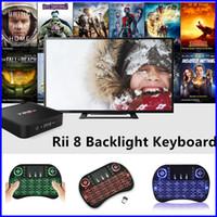 Teclado para juegos de luz de fondo azul España-Ratón Aire Rii I8 mini radio de retroiluminación del teclado colorido verde rojo azul claro del juego del USB 2.4G con el Touchpad Para MXQ X96 MXQ PRO TV BOX