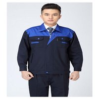 Wholesale Lstest Version Long Sleeve Work Uniform Clothes Overalls Welding Suit Superior Fabric Anti dust Five Size Blue Shoulder and Navy Body