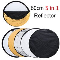 Wholesale 24 quot cm in Reflector Portable Collapsible Photography Photo Reflector Include Gold SilverTranslucent White and Black