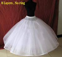 Wholesale No Rings Layers Hard Tulle Puffy Wedding Petticoat crinoline Quinceanera Big Volume Skirt Gown