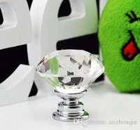 Wholesale New mm Diamond Shape six colors Crystal Glass Cabinet Handle Cupboard Drawer Knob Pull