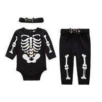 baby boy clothes skulls - Hallowmas Skull Romper Kid Infant Clothes Baby Clothing Autumn Boys Girls Long Trousers Children Set Kids Suit Outfits Lovekiss C28446