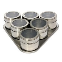 Wholesale High Quality Useful Set Spice Stainless Steel Magnetic Cruet Condiments Spice Rack Pots Set For Spice
