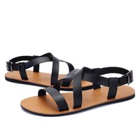 gladiator - Urban Fashion Quality Leather Sexy Gladiator Sandals Mens Ankle Strap Beach Sandals Shoes Roman Style With Narrow Bands Summer For Tide Boys