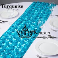 Wholesale Turquoise Color Satin Rosette Table Runner For Wedding Decoration