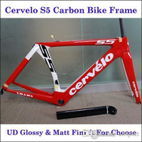 Cheap Cervelo S5 2016 Carbon Frame Red White Painting Carbon Road Bicycle Frameset VWD Carbon Fiber Bicycle Frames With BBright Glossy Matt Finish