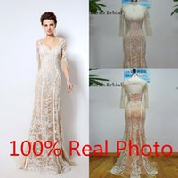 Wholesale Champagne lace Long Evening Dresses vestidos largos middle east arabic Mermaid Prom Dresses long Sleeves White Lace Zipper Party Gown