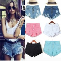 Wholesale Tassel Water Washing Brief Paragraph High Waist Ms Trend Hot Pants Summer Single Breasted Hole Jeans Shorts