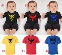 Wholesale 9 styles Children tops Short sleeve T shirts Poke Pattern Boys girls Pikachu Jeni turtle Charmander Valor Team Mystic Pokeball Go