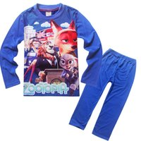 Wholesale 15 off colors Cotton Kids Clothing Sets Children Cartoon Long Sleeve T Shirts Trousers Pajamas Sweatshirt Boys Zootopia Clothes TM