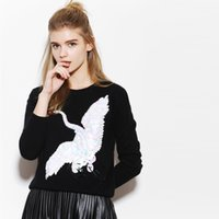 beaded cashmere sweater - Women s Skin friendly color mink cashmere exquisite handmade beaded crane round neck long sleeved sweater