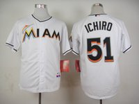 baseball suzuki - Miami Marlins Cool Base Mens Jerseys Suzuki Ichiro White Baseball Jersey Stitched Name Number and Logos