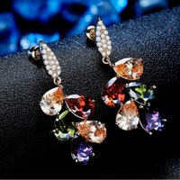 Wholesale factory ladies fashion earring colorful export boutique earrings selected zircon top cutting every one shines like a real diamond