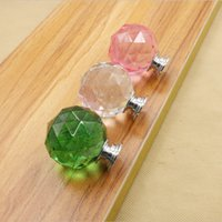 Wholesale 10PCS Set Diam mm Round Crystal Glass Ball Design Acrylic Handle Knobs Alloy Door Drawer Cabinet Wardrobe Pulls