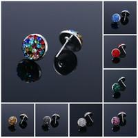 Wholesale Earrings For Women rhinestone flower shaped rose red crystal earrings for women party shamballa boho earrings channel Stud Earrings