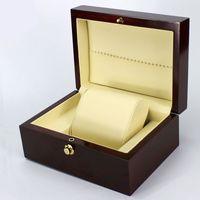 Wholesale Spray Paint Jewelry - Fashion Brand Wine Red Spray paint watch box luxury wood watch box with pillow package case watch Jewelry storage gift box