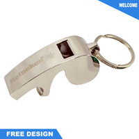 Wholesale Metal Whistle beer bottle opener with personalized laser engrave logo