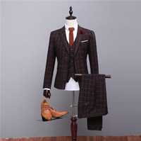 Wholesale 2016 New Plaid Suit Groom Groomsman Wedding Dress Suit Man Suits for Stage Party And Wedding Jacket Pants Vest