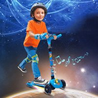 Wholesale Good Quality Children Flashing Wheel Scooters Boys Girls Music Rolling Wheeled Push Kick Scooter Kids Four Rounds Skateboard VE0116