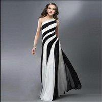 apples zebra - 2016 Prom Dresses Striped zebra Black and white cross back One shoulder Festa Dresses Cutaway Sides Floor Length Sexy Formal Dresses WB