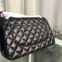 Wholesale cc300 Top Quality Jumbo Medium size classic double flap Bag Import Italy Lambskin caviar leather Bag Women s Quilted Chain bag