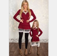Wholesale mother and daughter clothes family matching Christmas dresses for girl lace skirt baby clothing girls fall clothing children fashion QZZW021