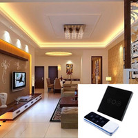 Wholesale 1 Gang Home Light Lamp LED Touch Sensor Remote Control Efficient Dimmer Black Glass Panel Wall Smart Switch UK
