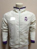 Wholesale 16 Real Madrid white Waterproof Windbreaker Hooded jacket