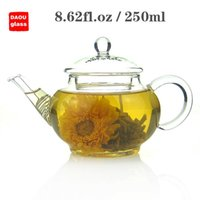 Wholesale 8 fl oz ml Heat Resisting Clear Pyrex Glass Teapot Coffee Tea Pot Set Juice Kettle with handle and Lid