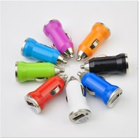 adapter portable - For Iphone s USB Car Charger Colorful Bullet Mini Car Charge Portable Charger Universal Adapter V A For Iphone Samsung