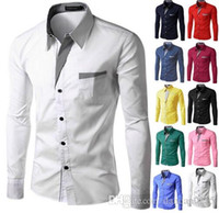 Wholesale Korean Casual Formal Dressing - 2016 New Fashion Brand Camisa Masculina Long Sleeve Shirt Men Korean Slim Design Formal Casual Male Dress Shirt Size M-4XL 8012