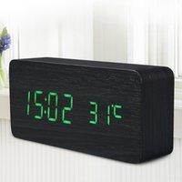 Wholesale Li tai Quality Digital LED Alarm Clock Sound Control Wooden Wood Despertador Desktop Clock USB AAA Powered Temperature Display Home Decor