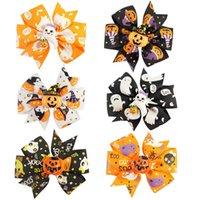 baby girl ponytail holder - 30pcs inch Tiny Hair Accessary Halloween Themed Pinwheel Hair Bows With Ponytail Hair Holders Holiday Headwear for Baby Girls