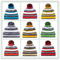 american baseball cap - Hot Sale Cotton Men Women American Football Team Winter Hats Stripe Cuff Sports Knitted Beanies Basketball Skullies Hat For Men Mix Order