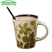 Wholesale JK HOME Set Lovers Ceramic Coffee Mugs Hand Painted Coffee Mug Travel Mug Cup Birthday Gift Milk Tea Cup with Spoons mL free shippin